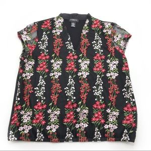 Liz Claiborne Career Embroidered Floral Blouse XL